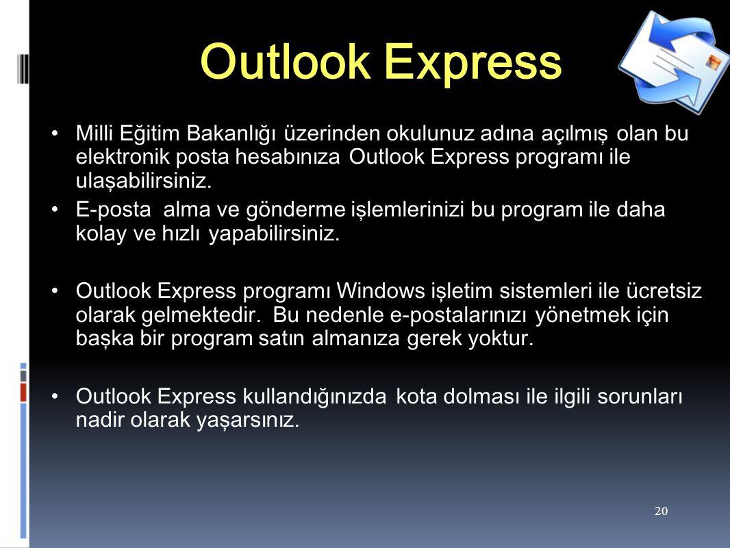 20 Outlook Express Milli Eğitim Bakanlığı üzerinden okulunuz adına açılmış olan bu elektronik posta hesabınıza Outlook Express programı ile ulaşabilirsiniz.