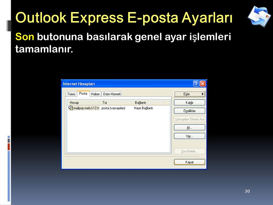 30 Outlook Express E-posta Ayarları Son butonuna basılarak genel ayar i ş lemleri tamamlanır.