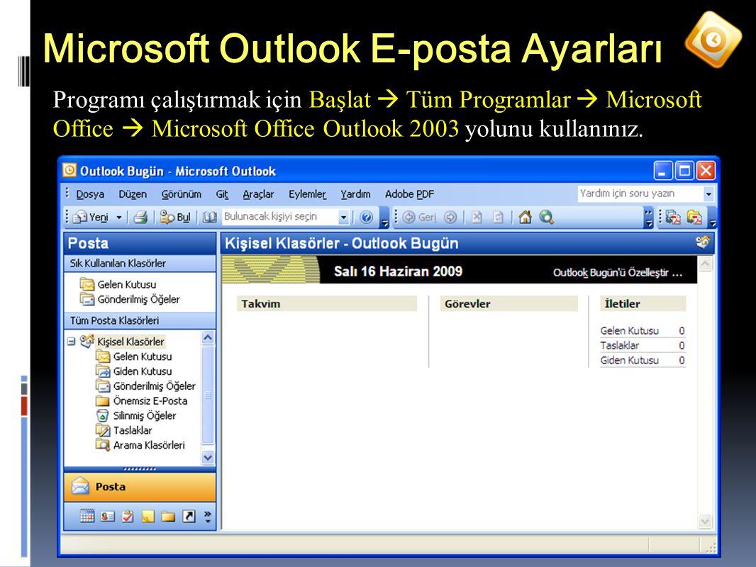 35 Microsoft Outlook E-posta Ayarları Programı çalıştırmak için Başlat  Tüm Programlar  Microsoft Office  Microsoft Office Outlook 2003 yolunu kullanınız.