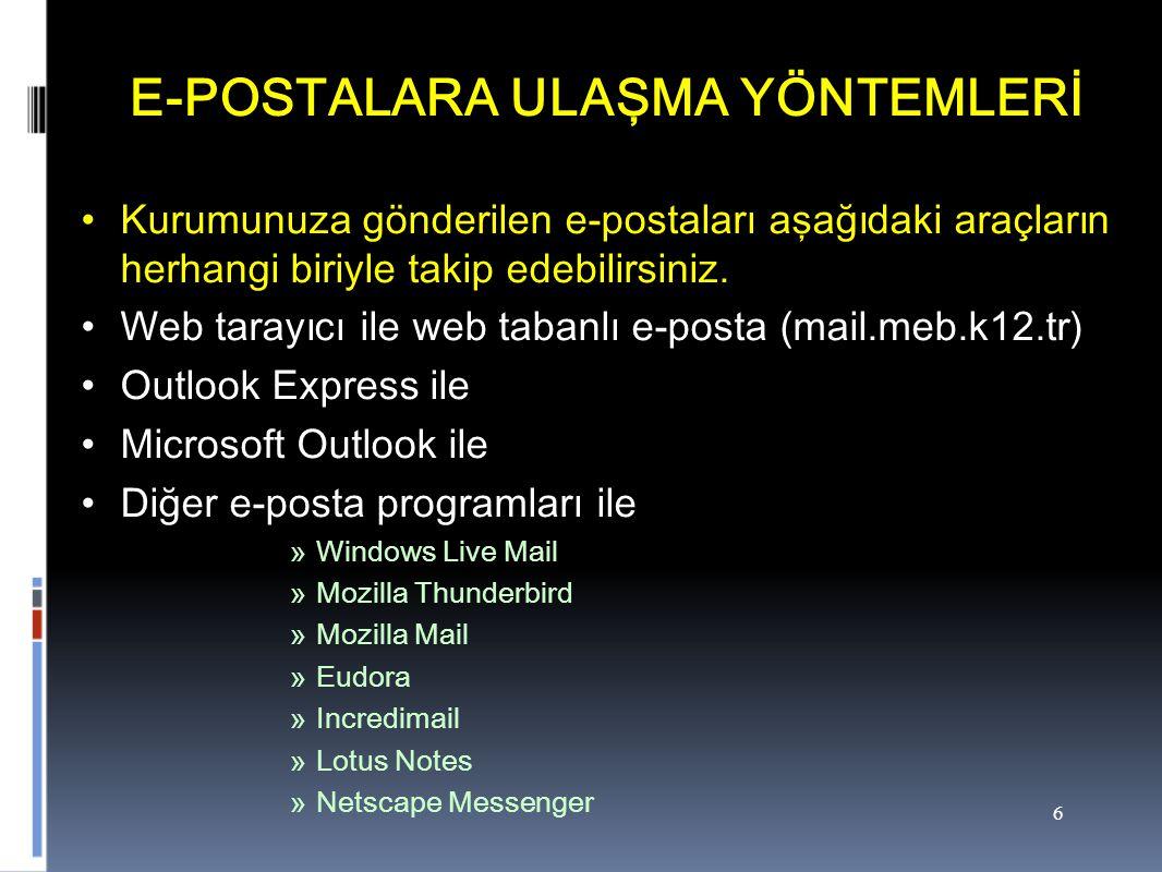 6 E-POSTALARA ULAŞMA YÖNTEMLERİ Kurumunuza gönderilen e-postaları aşağıdaki araçların herhangi biriyle takip edebilirsiniz.