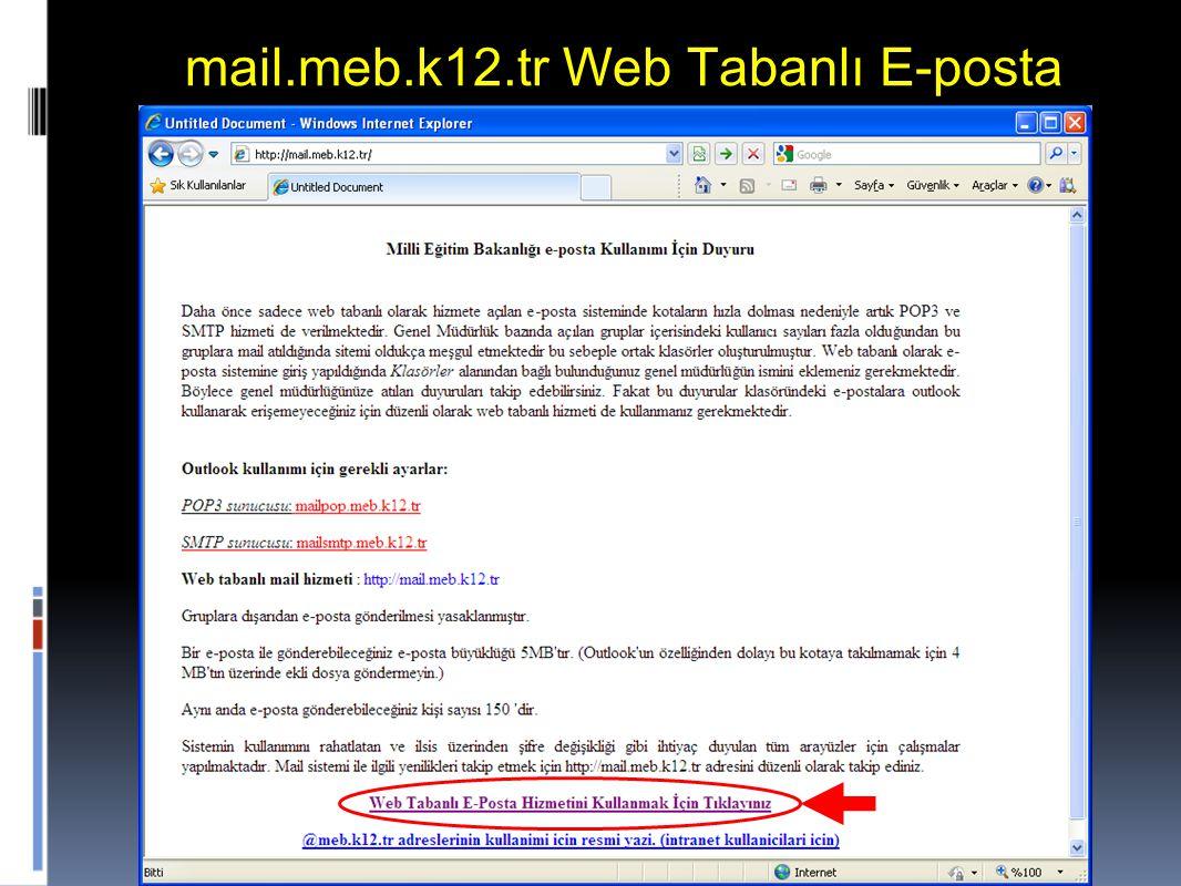 8 mail.meb.k12.tr Web Tabanlı E-posta