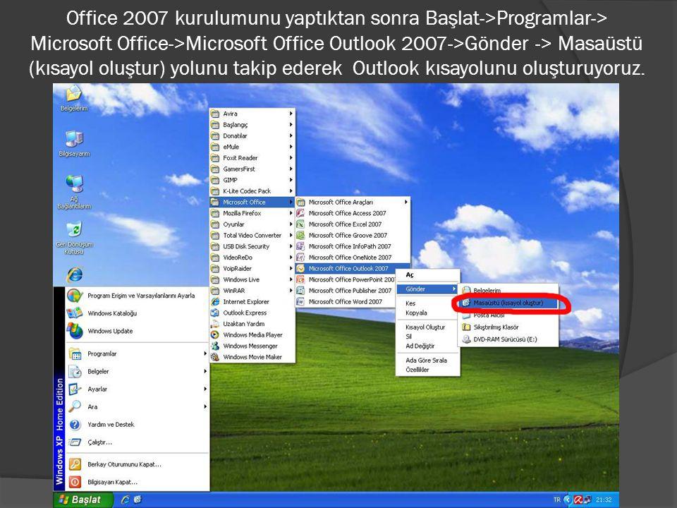 Office 2007 kurulumunu yaptıktan sonra Başlat->Programlar-> Microsoft Office->Microsoft Office Outlook 2007->Gönder -> Masaüstü (kısayol oluştur) yolu