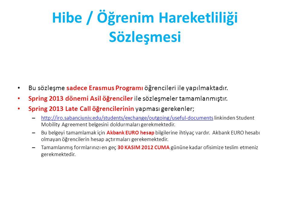 Hibe / Öğrenim Hareketliliği Sözleşmesi Bu sözleşme sadece Erasmus Programı öğrencileri ile yapılmaktadır.