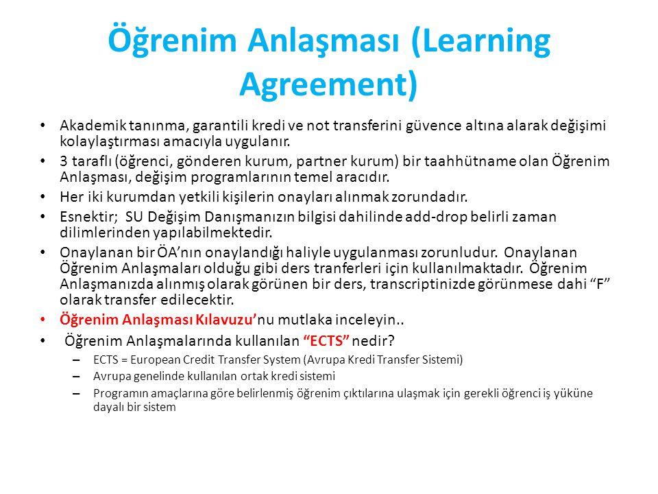 Öğrenim Anlaşması (Learning Agreement) Akademik tanınma, garantili kredi ve not transferini güvence altına alarak değişimi kolaylaştırması amacıyla uygulanır.