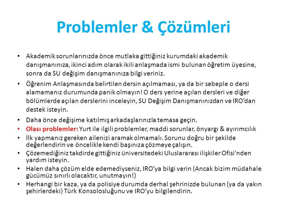 Problemler & Çözümleri Akademik sorunlarınızda önce mutlaka gittiğiniz kurumdaki akademik danışmanınıza, ikinci adım olarak ikili anlaşmada ismi bulunan öğretim üyesine, sonra da SU değişim danışmanınıza bilgi veriniz.