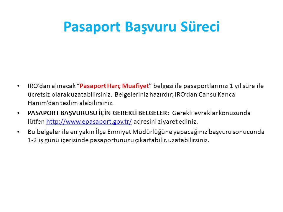 Pasaport Başvuru Süreci IRO'dan alınacak Pasaport Harç Muafiyet belgesi ile pasaportlarınızı 1 yıl süre ile ücretsiz olarak uzatabilirsiniz.