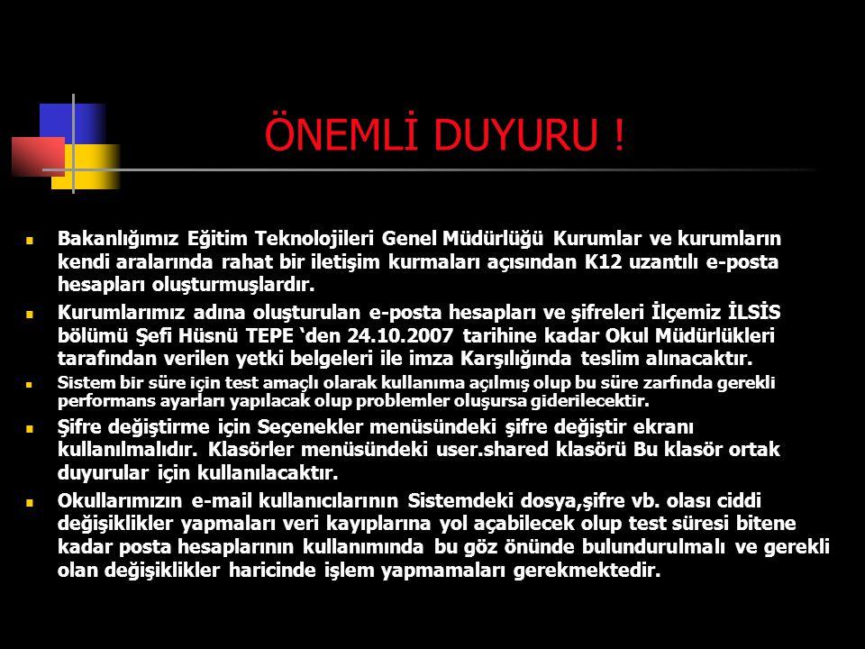 ÖNEMLİ DUYURU .