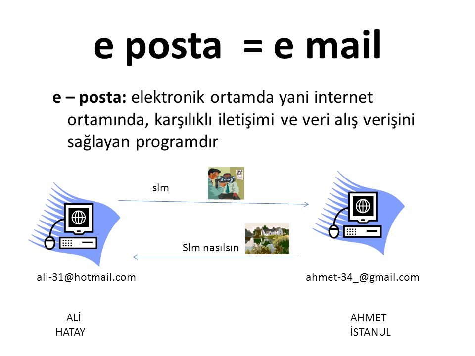 e – posta: elektronik ortamda yani internet ortamında, karşılıklı iletişimi ve veri alış verişini sağlayan programdır e posta = e mail ALİ HATAY AHMET İSTANUL ali-31@hotmail.comahmet-34_@gmail.com slm Slm nasılsın