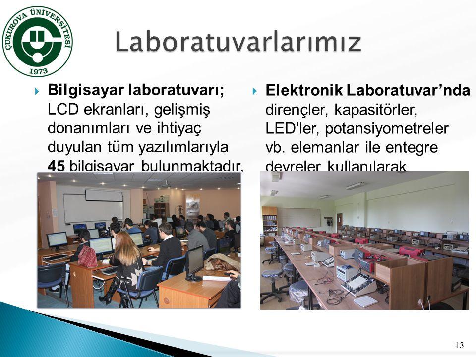  Bilgisayar laboratuvarı; LCD ekranları, gelişmiş donanımları ve ihtiyaç duyulan tüm yazılımlarıyla 45 bilgisayar bulunmaktadır. 13  Elektronik Labo