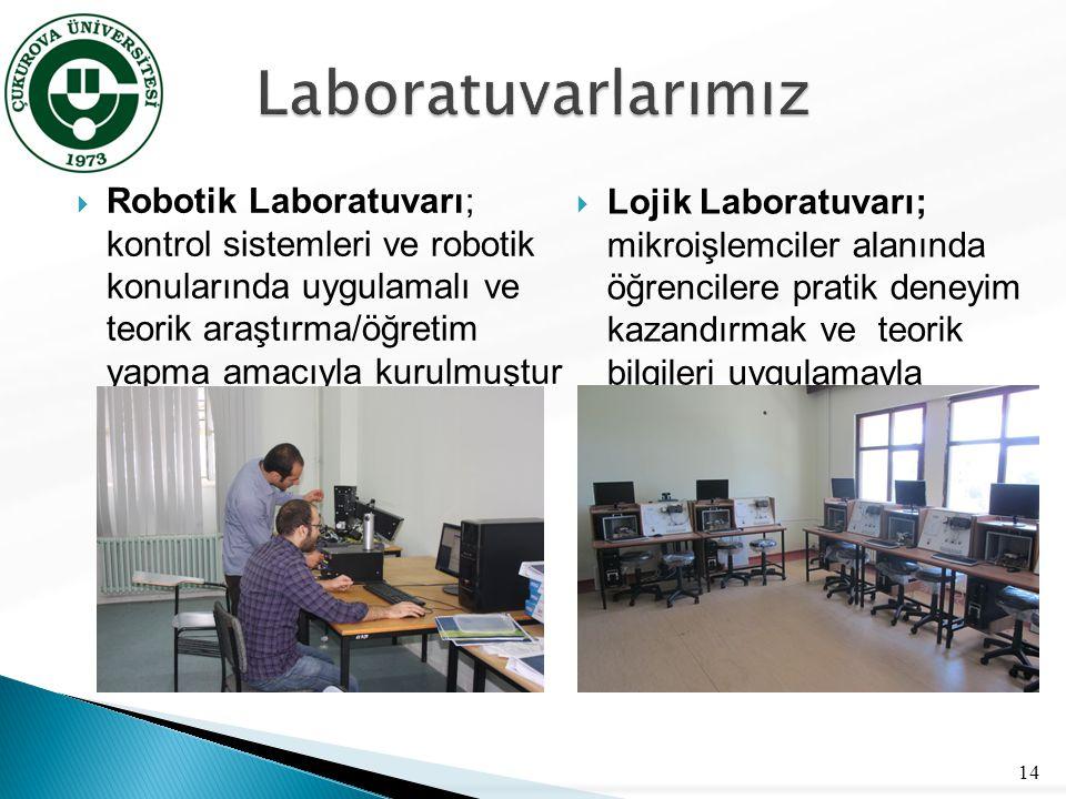  Robotik Laboratuvarı; kontrol sistemleri ve robotik konularında uygulamalı ve teorik araştırma/öğretim yapma amacıyla kurulmuştur 14  Lojik Laborat