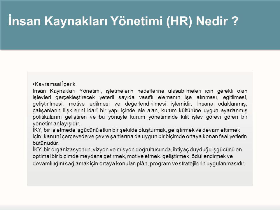 İnsan Kaynakları Yönetimi (HR) Nedir ? Kavramsal İçerik İnsan Kaynakları Yönetimi, işletmelerin hedeflerine ulaşabilmeleri için gerekli olan işlevleri
