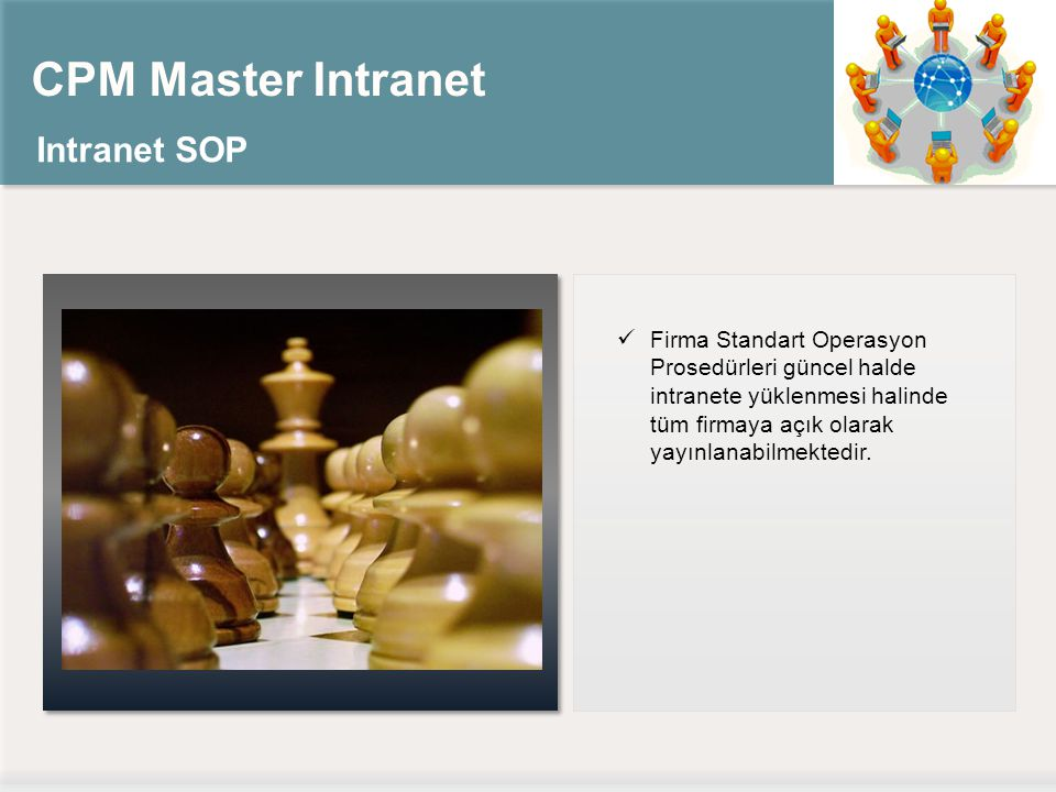 CPM Master Intranet Intranet SOP Firma Standart Operasyon Prosedürleri güncel halde intranete yüklenmesi halinde tüm firmaya açık olarak yayınlanabilmektedir.