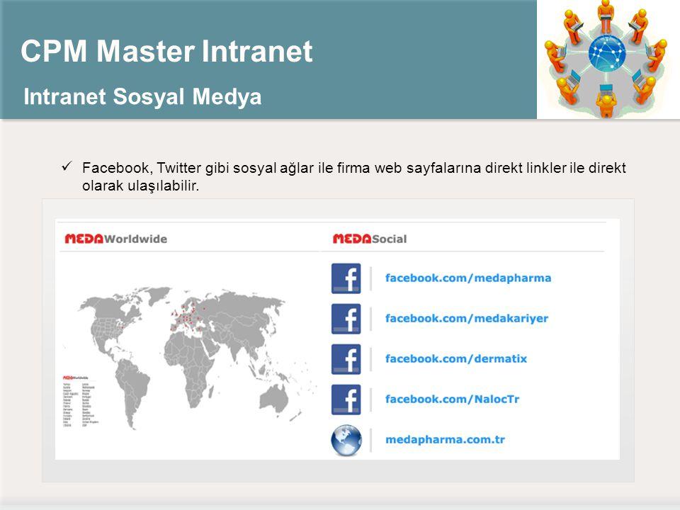 CPM Master Intranet Intranet Sosyal Medya Facebook, Twitter gibi sosyal ağlar ile firma web sayfalarına direkt linkler ile direkt olarak ulaşılabilir.
