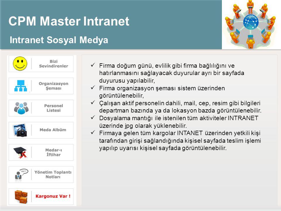 CPM Master Intranet Intranet Sosyal Medya Firma doğum günü, evlilik gibi firma bağlılığını ve hatırlanmasını sağlayacak duyurular ayrı bir sayfada duy