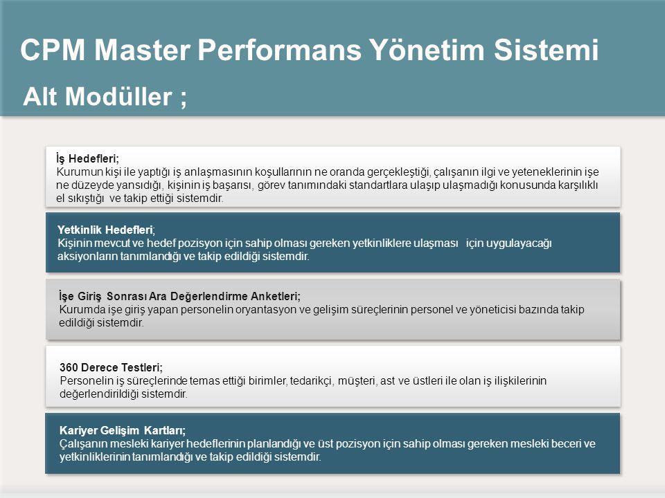 CPM Master Performans Yönetim Sistemi Alt Modüller ; İşe Giriş Sonrası Ara Değerlendirme Anketleri; Kurumda işe giriş yapan personelin oryantasyon ve gelişim süreçlerinin personel ve yöneticisi bazında takip edildiği sistemdir.
