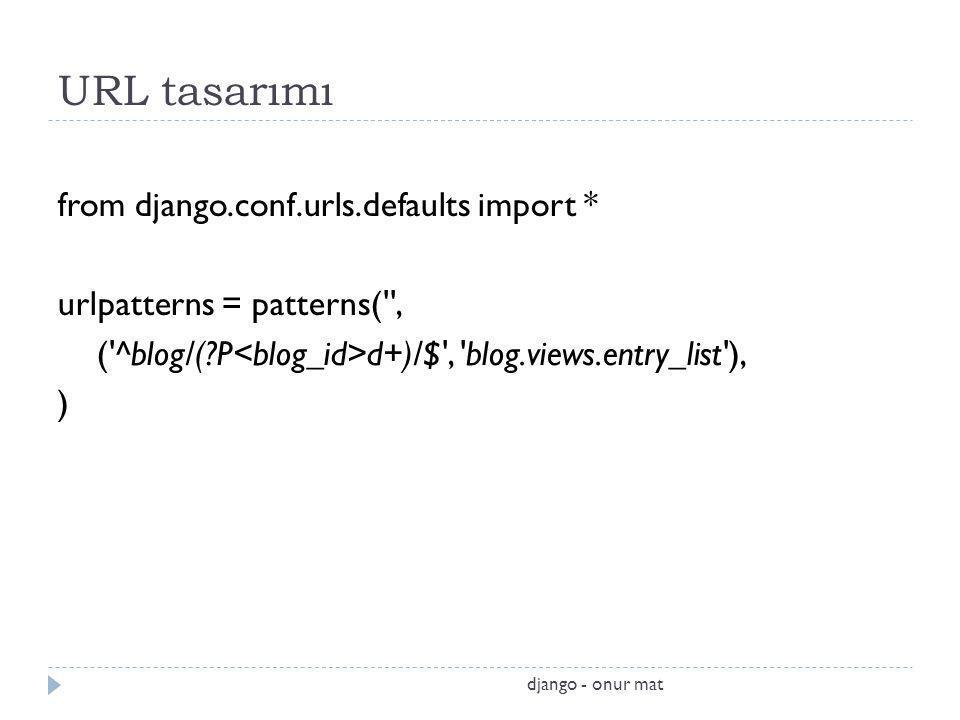 URL tasarımı from django.conf.urls.defaults import * urlpatterns = patterns('', ('^blog/(?P d+)/$', 'blog.views.entry_list'), ) django - onur mat