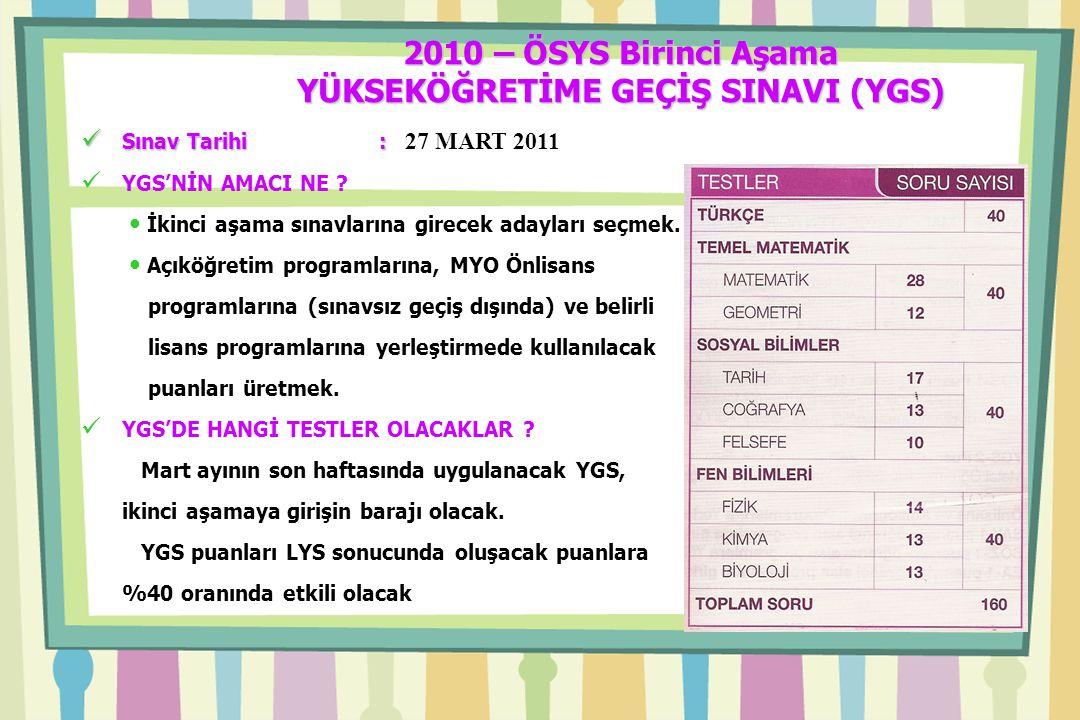 2010 – ÖSYS Birinci Aşama YÜKSEKÖĞRETİME GEÇİŞ SINAVI (YGS) Sınav Tarihi : Sınav Tarihi : 27 MART 2011 YGS'NİN AMACI NE .