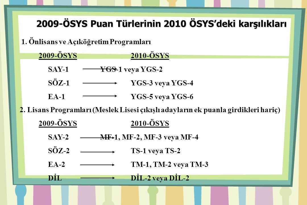 2009-ÖSYS Puan Türlerinin 2010 ÖSYS'deki karşılıkları 1.