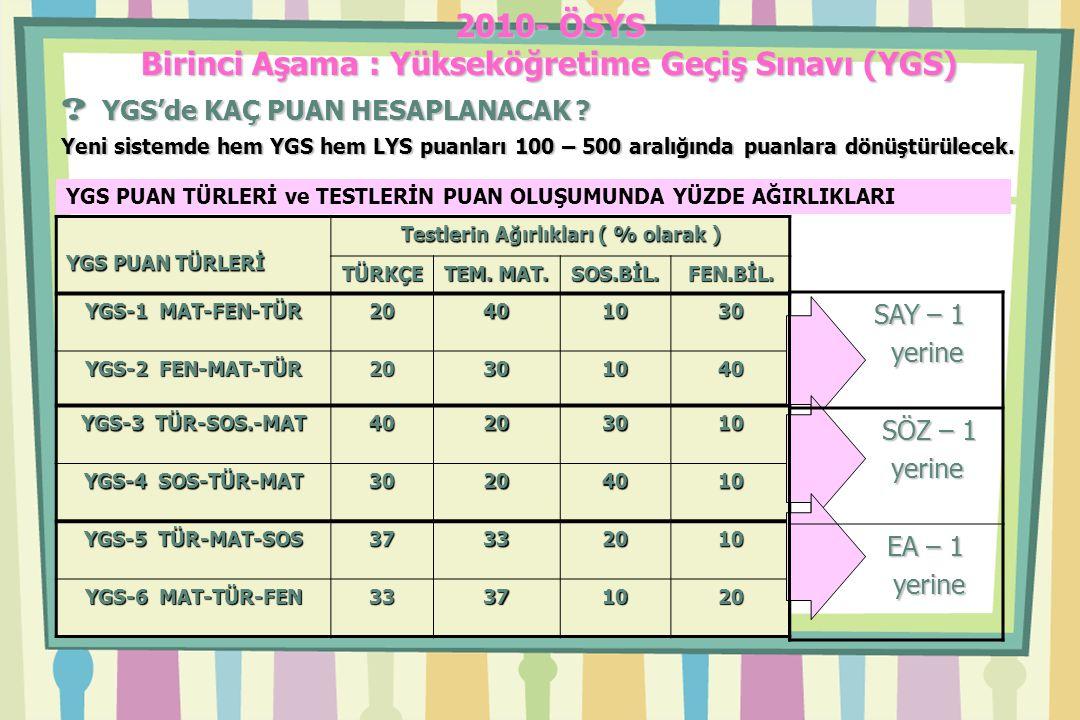 2010- ÖSYS Birinci Aşama : Yükseköğretime Geçiş Sınavı (YGS) .