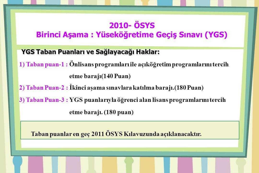 2010- ÖSYS Birinci Aşama : Yüseköğretime Geçiş Sınavı (YGS) YGS Taban Puanları ve Sağlayacağı Haklar: YGS Taban Puanları ve Sağlayacağı Haklar: 1) Taban puan-1 : Önlisans programları ile açıköğretim programlarını tercih etme barajı(140 Puan) 2) Taban Puan-2 : İkinci aşama sınavlara katılma barajı.(180 Puan) 3) Taban Puan-3 : YGS puanlarıyla öğrenci alan lisans programlarını tercih etme barajı.