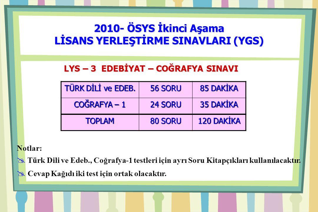 2010- ÖSYS İkinci Aşama LİSANS YERLEŞTİRME SINAVLARI (YGS) Notlar:  Türk Dili ve Edeb., Coğrafya-1 testleri için ayrı Soru Kitapçıkları kullanılacaktır.