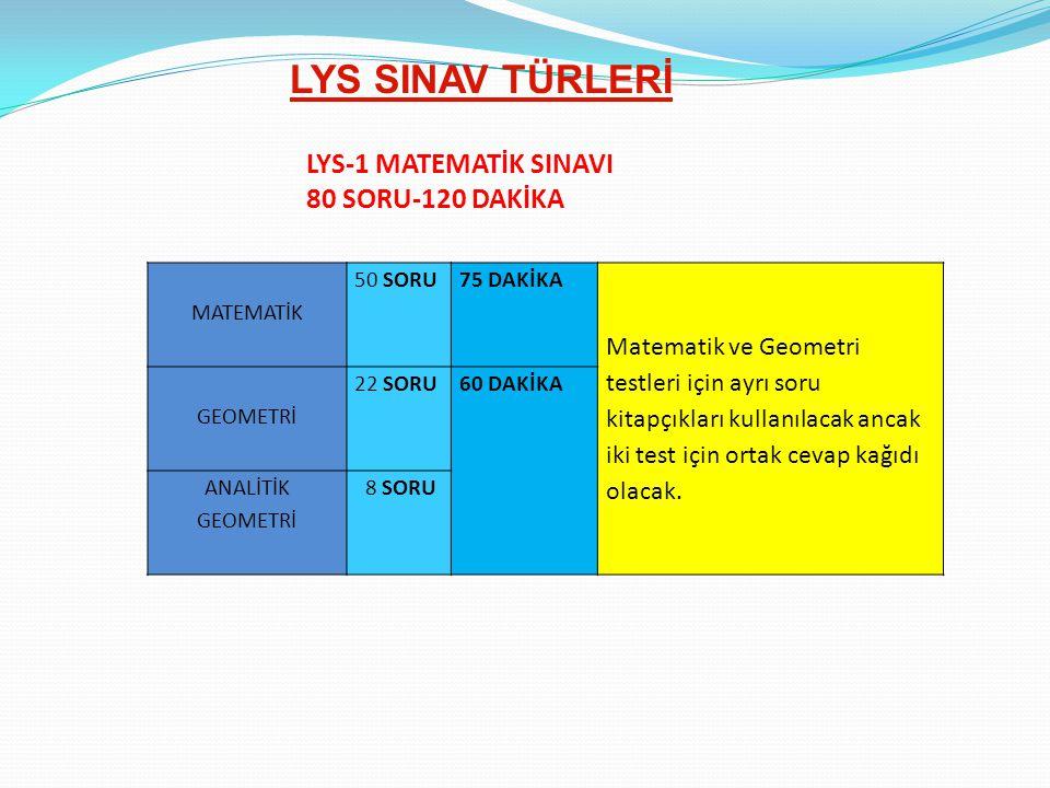 LYS SINAV TÜRLERİ LYS-1 MATEMATİK SINAVI 80 SORU-120 DAKİKA MATEMATİK 50 SORU75 DAKİKA Matematik ve Geometri testleri için ayrı soru kitapçıkları kull