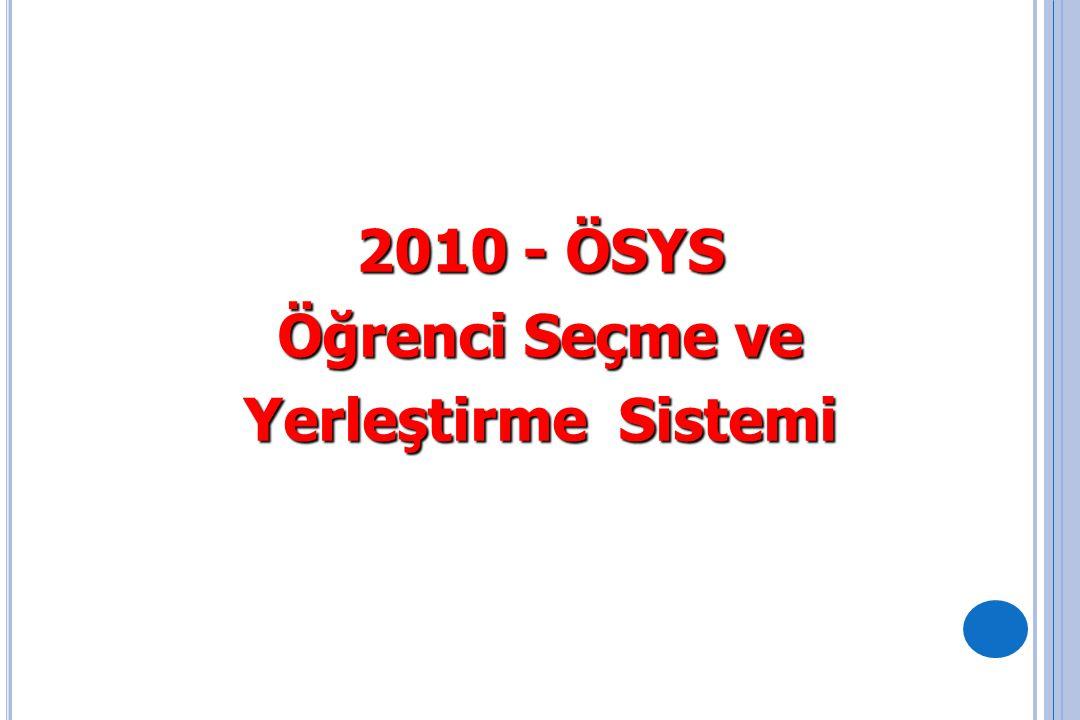 2009-ÖSYS ile 2010-ÖSYS Arasındaki Fark 2009 ÖSS 2009 YDS Türkçe Tes.