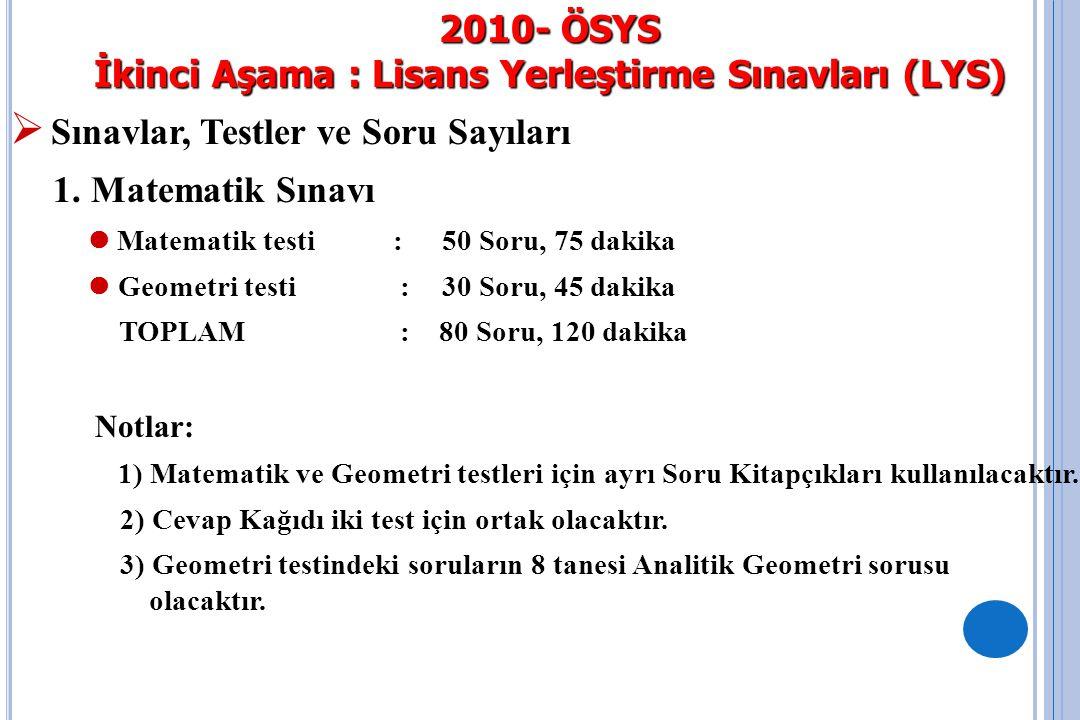 2010- ÖSYS İkinci Aşama : Lisans Yerleştirme Sınavları (LYS )  Sınavlar, Testler ve Soru Sayıları 2.