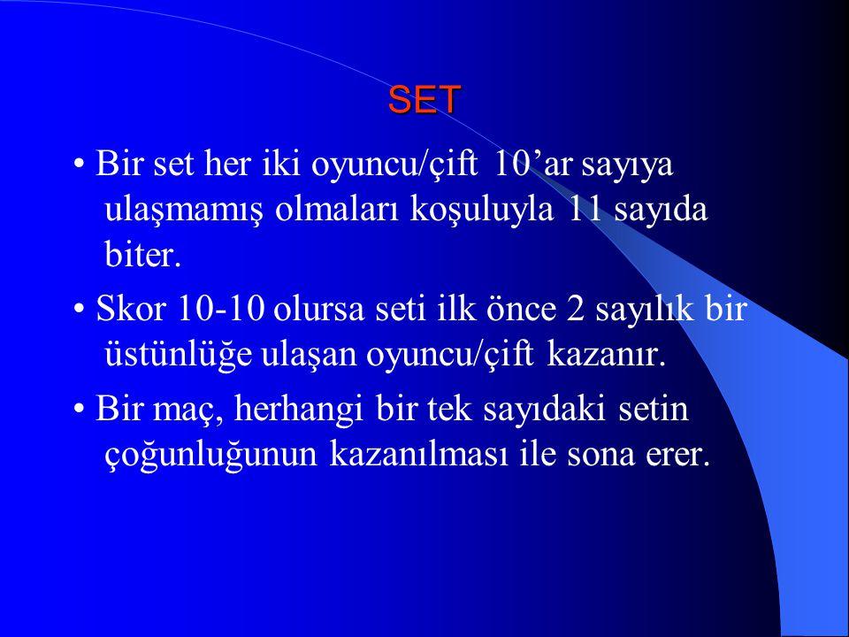 SET Bir set her iki oyuncu/çift 10'ar sayıya ulaşmamış olmaları koşuluyla 11 sayıda biter. Skor 10-10 olursa seti ilk önce 2 sayılık bir üstünlüğe ula