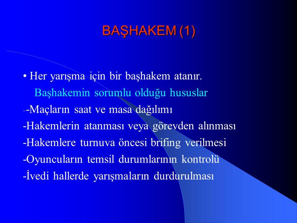 BAŞHAKEM (1) Her yarışma için bir başhakem atanır. Başhakemin sorumlu olduğu hususlar - -Maçların saat ve masa dağılımı -Hakemlerin atanması veya göre