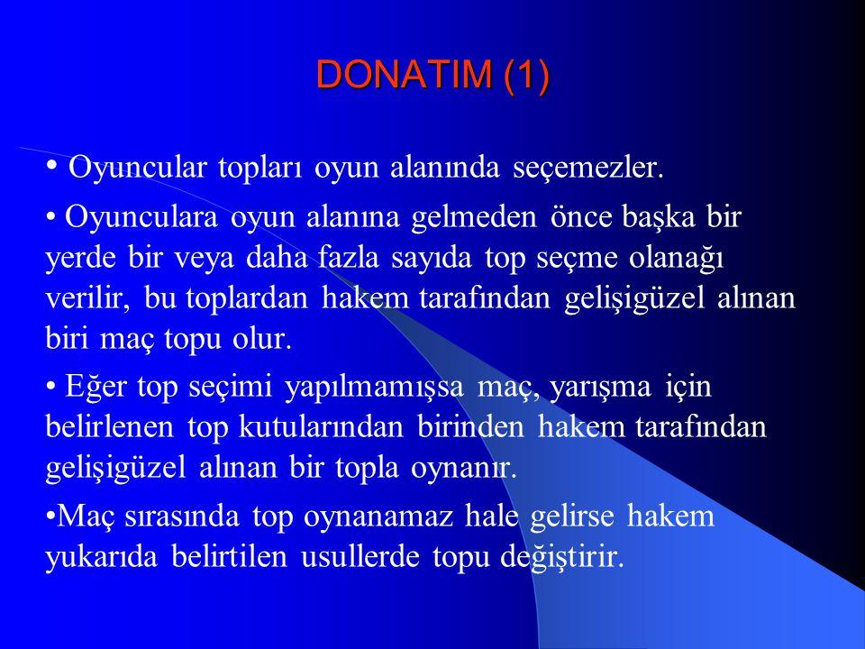 DONATIM (1) Oyuncular topları oyun alanında seçemezler. Oyunculara oyun alanına gelmeden önce başka bir yerde bir veya daha fazla sayıda top seçme ola
