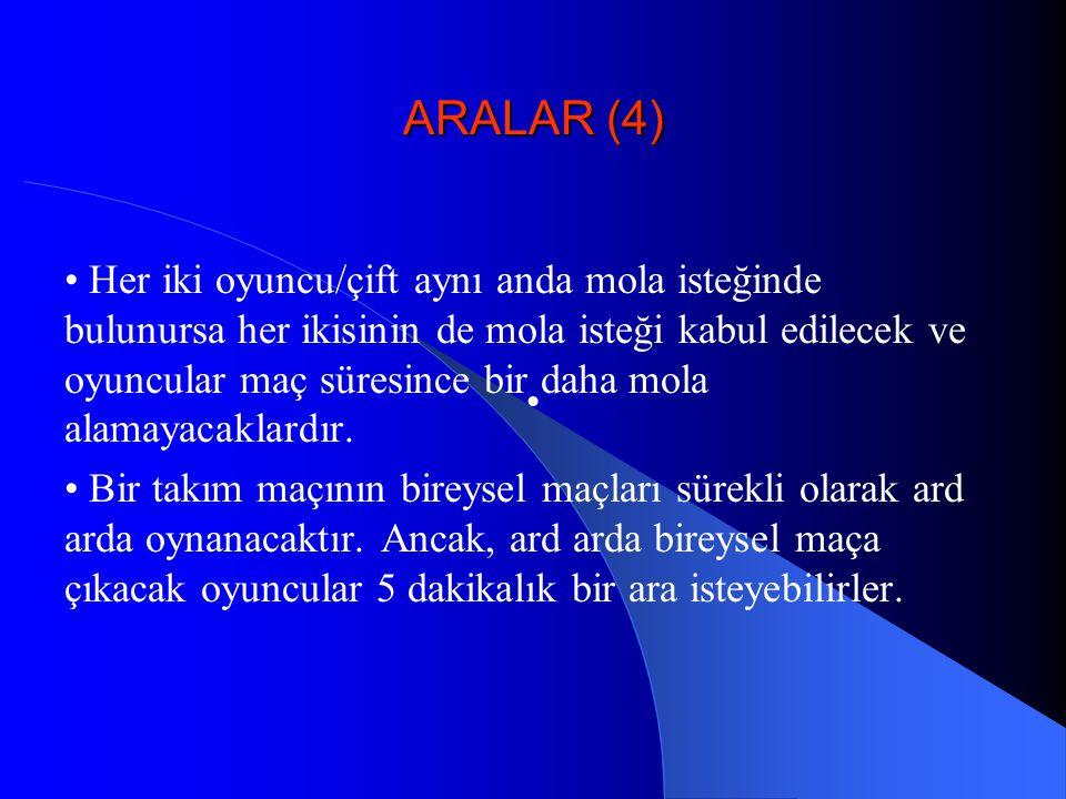 ARALAR (4) Her iki oyuncu/çift aynı anda mola isteğinde bulunursa her ikisinin de mola isteği kabul edilecek ve oyuncular maç süresince bir daha mola