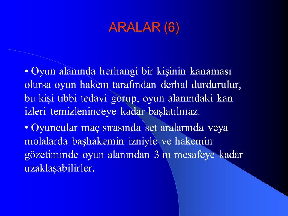 ARALAR (6) Oyun alanında herhangi bir kişinin kanaması olursa oyun hakem tarafından derhal durdurulur, bu kişi tıbbi tedavi görüp, oyun alanındaki kan