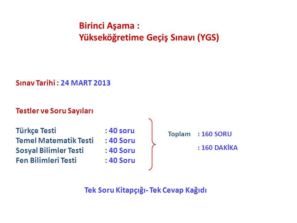 Sınav Tarihi : 24 MART 2013 Testler ve Soru Sayıları Türkçe Testi : 40 soru Temel Matematik Testi : 40 Soru Sosyal Bilimler Testi : 40 Soru Fen Biliml