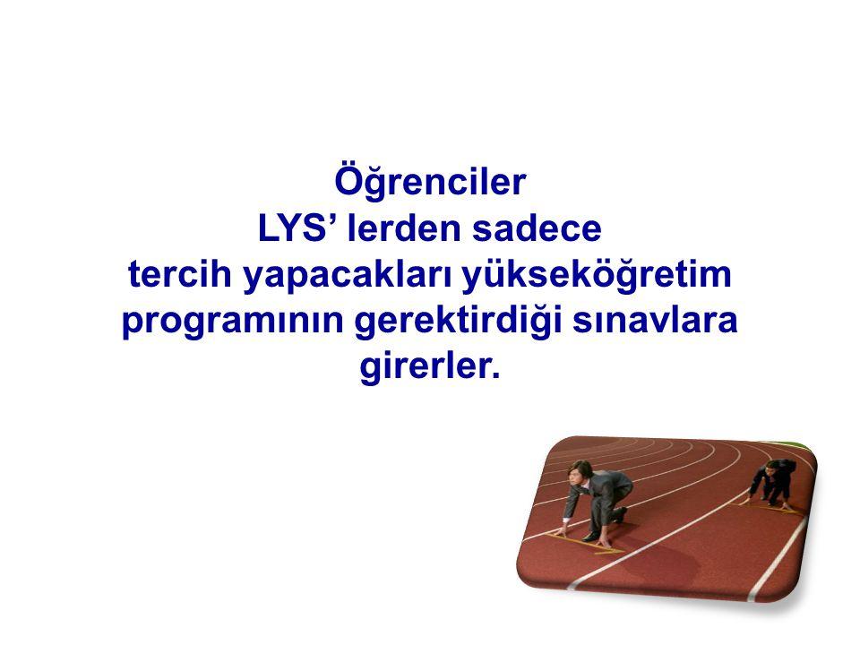 Öğrenciler LYS' lerden sadece tercih yapacakları yükseköğretim programının gerektirdiği sınavlara girerler.