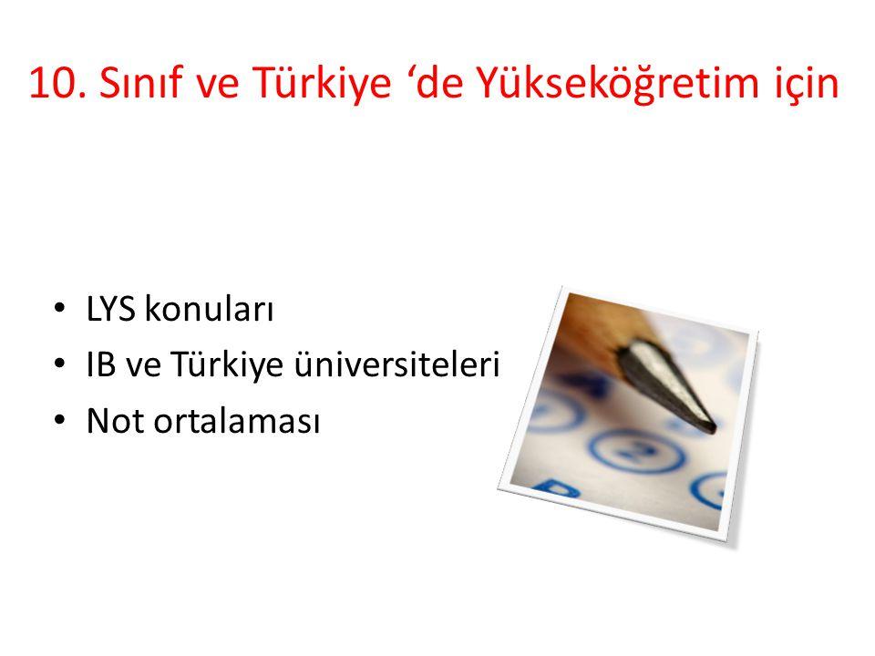 10. Sınıf ve Türkiye 'de Yükseköğretim için LYS konuları IB ve Türkiye üniversiteleri Not ortalaması