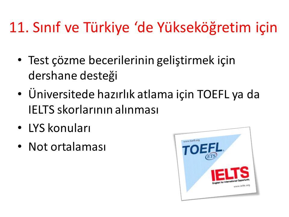 11. Sınıf ve Türkiye 'de Yükseköğretim için Test çözme becerilerinin geliştirmek için dershane desteği Üniversitede hazırlık atlama için TOEFL ya da I