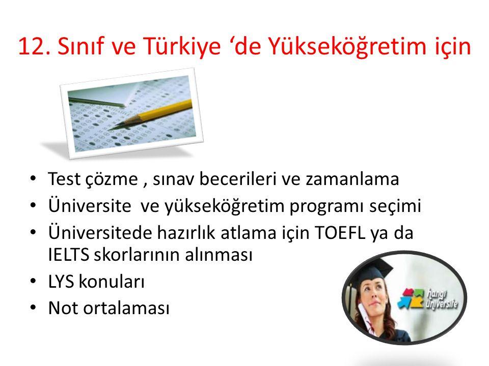 12. Sınıf ve Türkiye 'de Yükseköğretim için Test çözme, sınav becerileri ve zamanlama Üniversite ve yükseköğretim programı seçimi Üniversitede hazırlı