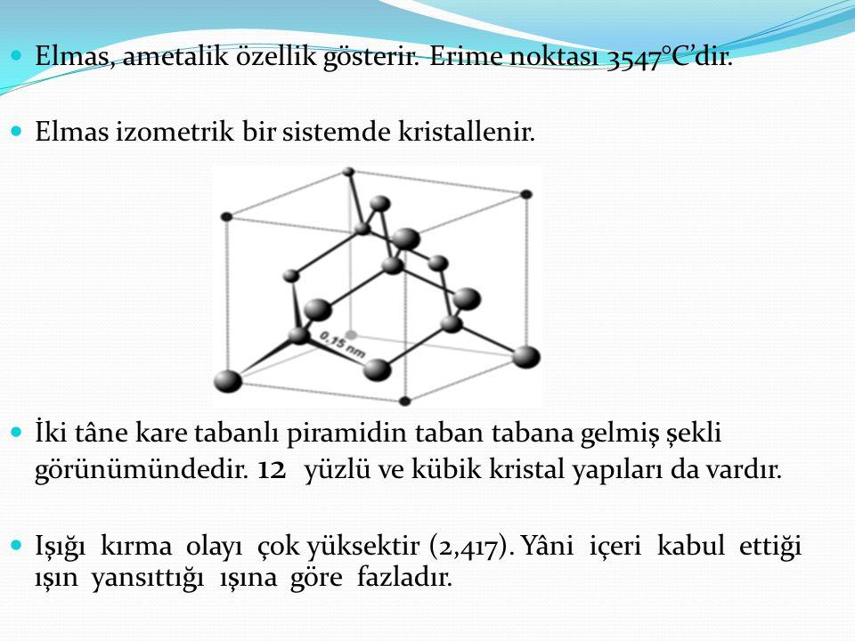 Elmas, ametalik özellik gösterir. Erime noktası 3547°C'dir. Elmas izometrik bir sistemde kristallenir. İki tâne kare tabanlı piramidin taban tabana ge