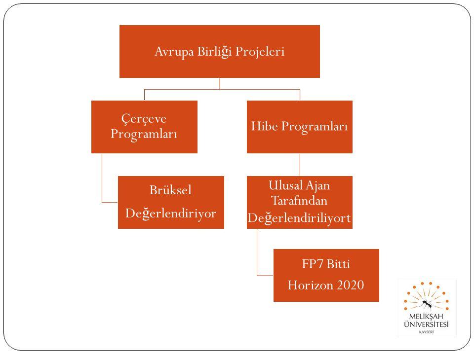 Avrupa Birli ğ i Projeleri Çerçeve Programları Brüksel De ğ erlendiriyor Hibe Programları Ulusal Ajan Tarafından De ğ erlendiriliyort FP7 Bitti Horizon 2020