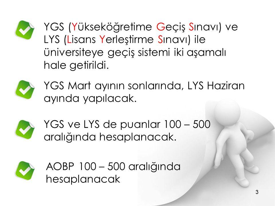 YGS (Yükseköğretime Geçiş Sınavı) ve LYS (Lisans Yerleştirme Sınavı) ile üniversiteye geçiş sistemi iki aşamalı hale getirildi. YGS Mart ayının sonlar