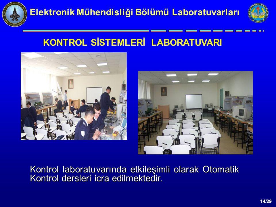 14/29 Elektronik Mühendisliği Bölümü Laboratuvarları Kontrol laboratuvarında etkileşimli olarak Otomatik Kontrol dersleri icra edilmektedir.