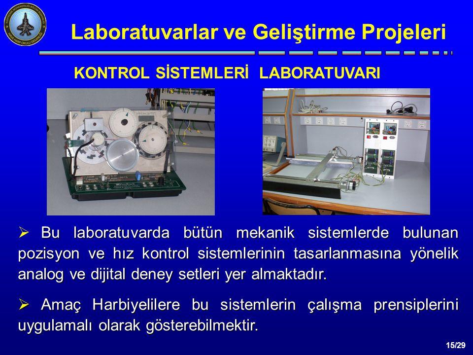 15/29 Bu laboratuvarda bütün mekanik sistemlerde bulunan pozisyon ve hız kontrol sistemlerinin tasarlanmasına yönelik analog ve dijital deney setleri yer almaktadır.