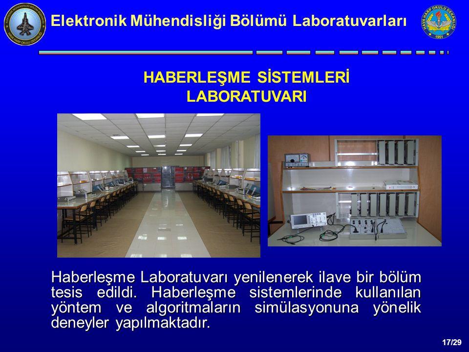 17/29 Elektronik Mühendisliği Bölümü Laboratuvarları HABERLEŞME SİSTEMLERİ LABORATUVARI Haberleşme Laboratuvarı yenilenerek ilave bir bölüm tesis edildi.