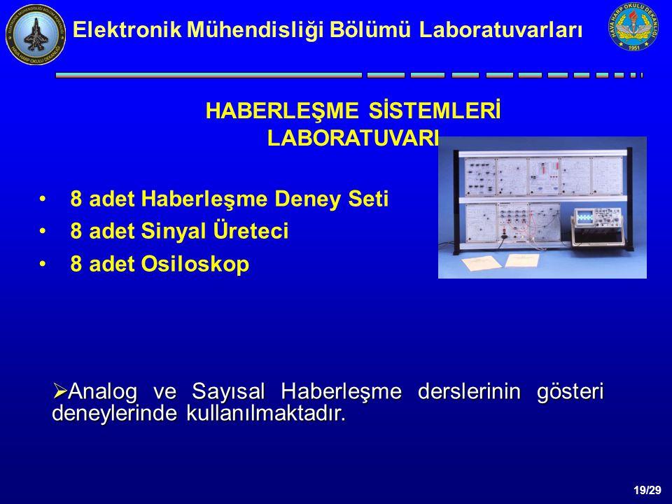 19/29 8 adet Haberleşme Deney Seti 8 adet Sinyal Üreteci 8 adet Osiloskop  Analog ve Sayısal Haberleşme derslerinin gösteri deneylerinde kullanılmaktadır.
