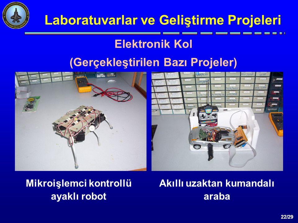 22/29 Laboratuvarlar ve Geliştirme Projeleri Mikroişlemci kontrollü ayaklı robot Akıllı uzaktan kumandalı araba Elektronik Kol (Gerçekleştirilen Bazı Projeler)