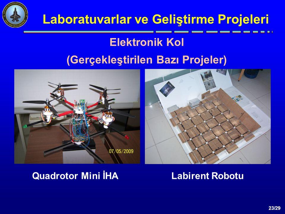 23/29 Laboratuvarlar ve Geliştirme Projeleri Elektronik Kol (Gerçekleştirilen Bazı Projeler) Quadrotor Mini İHALabirent Robotu