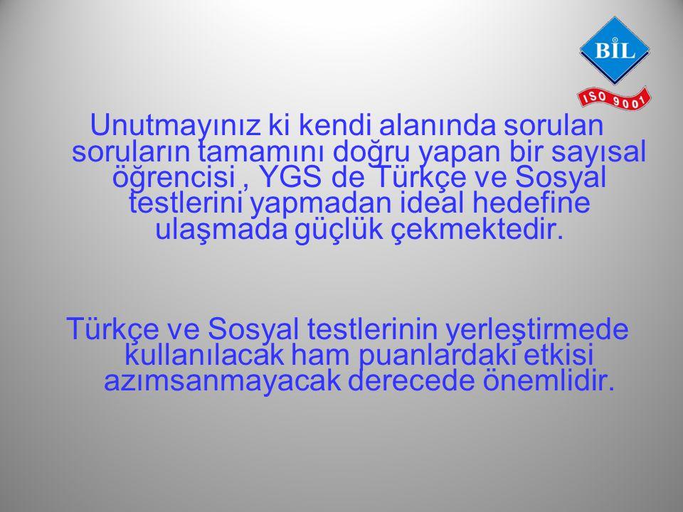 Unutmayınız ki kendi alanında sorulan soruların tamamını doğru yapan bir sayısal öğrencisi, YGS de Türkçe ve Sosyal testlerini yapmadan ideal hedefine ulaşmada güçlük çekmektedir.