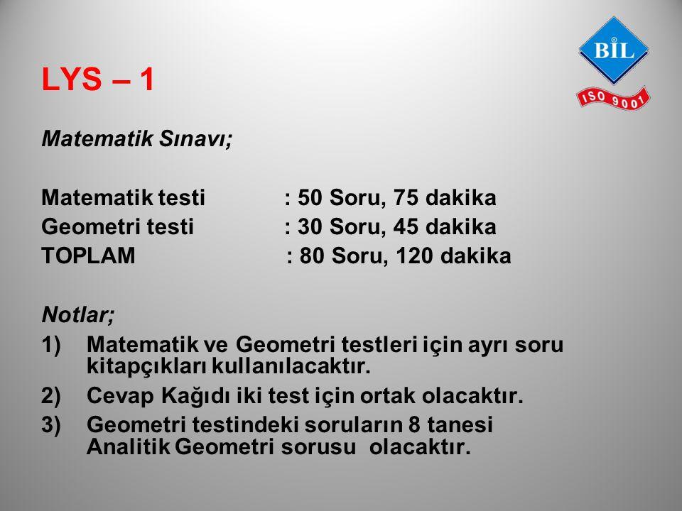 Matematik Sınavı; Matematik testi : 50 Soru, 75 dakika Geometri testi : 30 Soru, 45 dakika TOPLAM : 80 Soru, 120 dakika Notlar; 1) Matematik ve Geomet