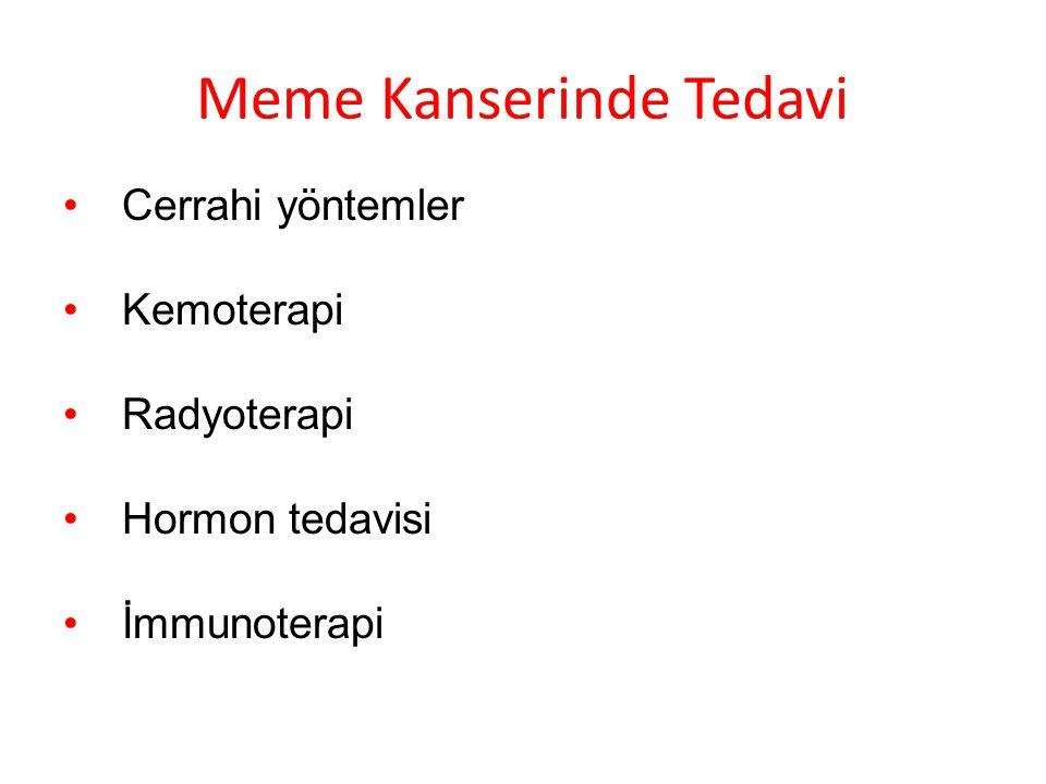 Meme Kanserinde Tedavi Cerrahi yöntemler Kemoterapi Radyoterapi Hormon tedavisi İmmunoterapi